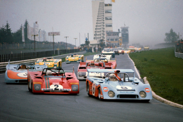 Nurburgring, Germany. 28th May 1972. Rd 8.Derek Bell/Gijs van Lennep (Mirage M6 Ford) 4th position leads Arturo Merzario/Brian Redman (Ferrari 312PB), 2nd position, at the start, action.World Copyright: LAT Photographic