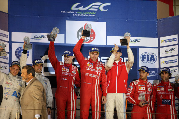 2015 FIA World Endurance Championship, Bahrain International Circuit, Bahrain. 19th - 21st November 2015. P1 Podium (l-r) Simon Trummer / Pierre Kaffer Team Bykolles CLM P1/01 AER, Alexandre Imperatori / Dominik Krahaimer / Matheo Tuscher Rebellion Racing Rebellion R1 AER, Nicolas Prost / Mathias Beche Rebellion Racing Rebellion R1 AER. World Copyright: Jakob Ebrey / LAT Photographic.