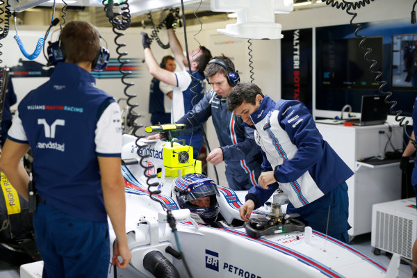 Sochi Autodrom, Sochi, Russia. Friday 09 October 2015. Valtteri Bottas, Williams FW37 Mercedes in the garage. World Copyright: Glenn Dunbar/LAT Photographic. ref: Digital Image _89P9000