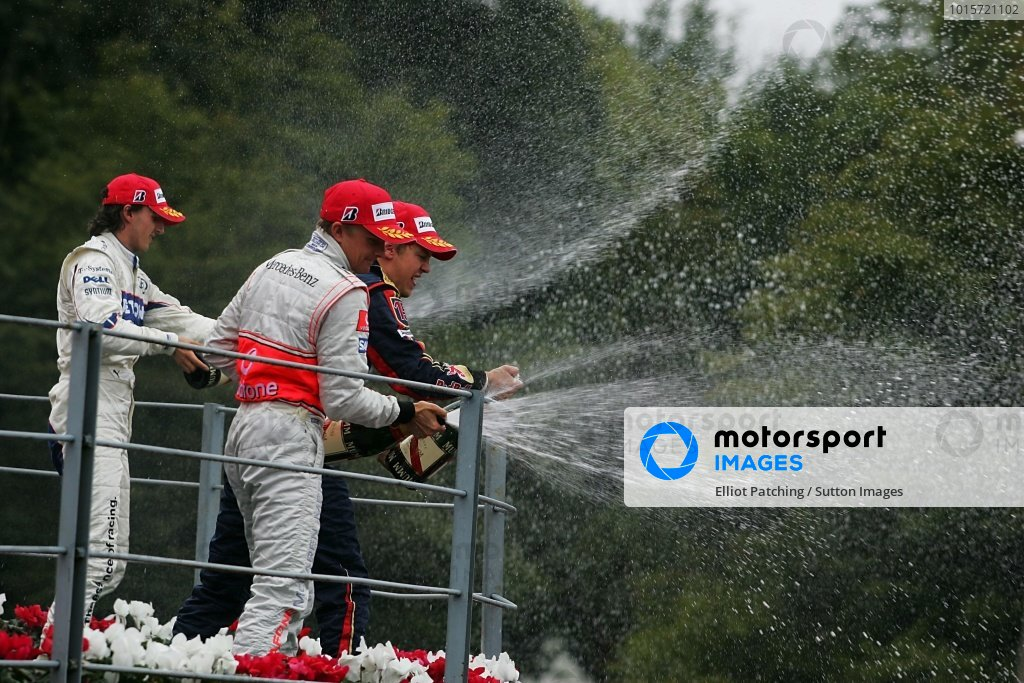 Robert Kubica (POL) BMW Sauber F1, Heikki Kovalainen (FIN) McLaren and Sebastian Vettel (GER) Scuderia Toro Rosso on the podium.