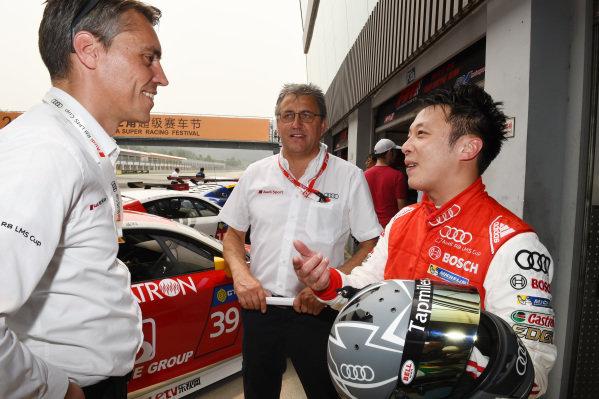 Rene Koneberg (D) Director of Audi Sport customer racing Asia , Ernst Moser (D) Team Principal, Team Phoenix Racing and Marchy Lee (CHN) Audi Hong Kong Team at Audi R8 LMS Cup, Zhuhai, China, 21  March 2015.