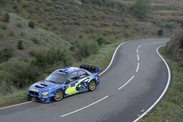 2005 FIA World Rally Champs. Round fifteenRally RACC Catalunya - Costa Durada.27th-30th  October 2005.Stephane Sarrazin, Subaru, action.World Copyright: McKlein/LAT