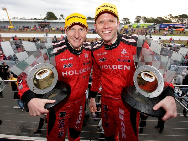 The Holden Racing Team Holden Commodore of Garth Tander and Mark Skaife win the  L&H 500, Tander Skaife win L$H 500 at the Phillip Island Grand Prix Circuit, Phillip Island, Victoria, September 14, 2008.