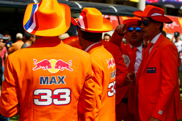 Circuit de Catalunya, Barcelona, Spain. Sunday 14 May 2017. Fans of Max Verstappen, Red Bull. World Copyright: Andy Hone/LAT Images ref: Digital Image _ONY5885