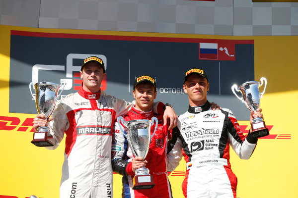 2014 GP3 Series. Round 8.   Sochi Autodrom, Sochi, Russia. Sunday Race 2 Sunday 12 October 2014. Dean Stoneman (GBR, Marussia Manor Racing), Patric Niederhauser (SUI, Arden International) and Marvin Kirchhofer (GER, ART Grand Prix) celebrate on the podium. Photo: Glenn Dunbar/GP3 Series Media Service. ref: Digital Image _89P3050