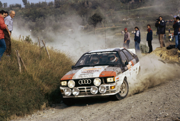 Rallye San Remo, Italy. 3rd - 8th October 1982.Michele Mouton / Fabrizia Pons (Audi Quattro), 4th position, action.World Copyright: LAT Photographic.Ref: Colour Transparency.