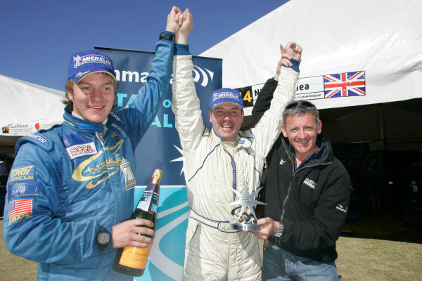 2004 FIA World Rally Champs. Round Sixteen, Rally Australia.11th - 14th November 2004.Niall McShea and co-driver Michael Orr celebrate winning the Inmarsat Star of the Rally, which is presented by Nicky Grist.World Copyright: McKlein/LAT