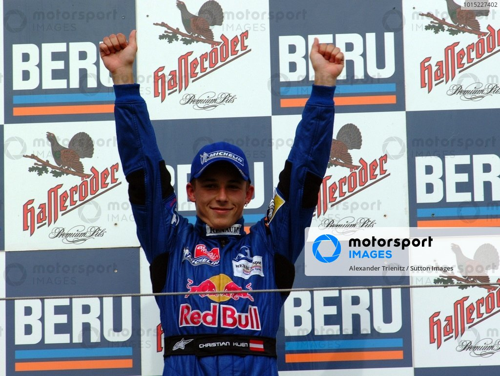 Christian Klien (AUT) JD Motorsport, winner of race 1, 3rd in race 2, celebrates on the podium.