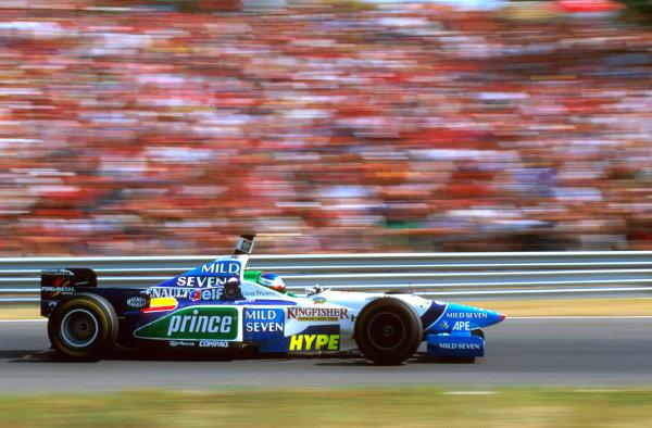 Hungaroring, Budapest, Hungary.9-11 August 1996.Jean Alesi (Benetton B196 Renault) 3rd position.Ref-96 HUN 04.World Copyright - LAT Photographic