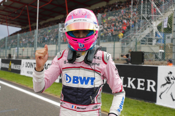 Esteban Ocon, Racing Point Force India, celebrates qualifying in third place.