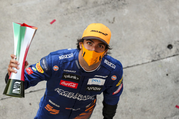 Carlos Sainz, McLaren, 2nd position, with his trophy