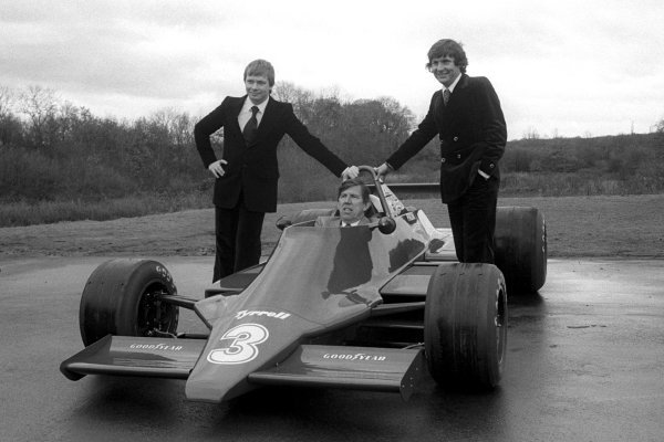 L-R: The 1979 Tyrrell driver line-up: Didier Pironi (FRA); Ken Tyrrell (GBR) Tyrrell Team Owner; Jean-Pierre Jarier (FRA), with the new ground effect Tyrrell 009.
