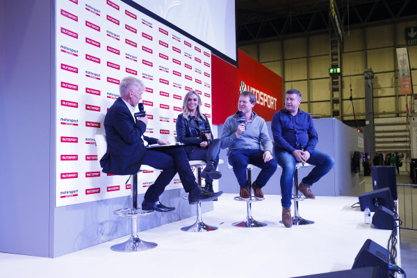 Miss Emma Walsh, Shmee150 and David Croft talk to Alan Hyde on the Autosport Stage.