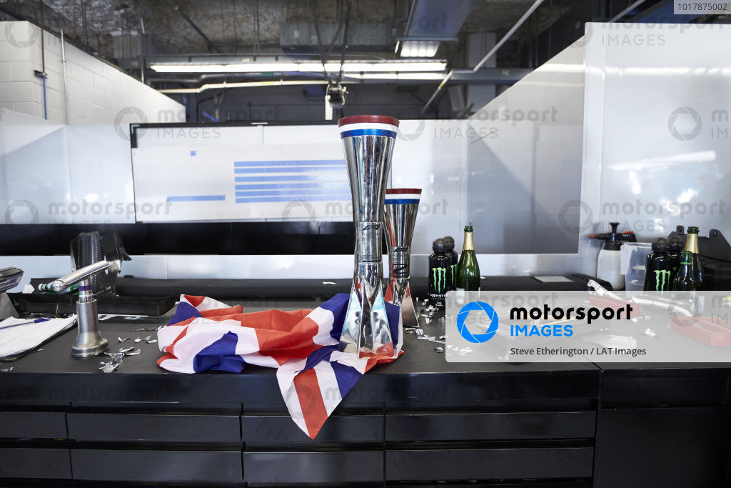 Trophies belonging to Lewis Hamilton, Mercedes AMG F1, and Valtteri Bottas, Mercedes AMG F1