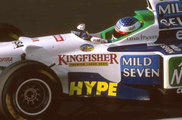 Estoril, Portugal.20-22 September 1996.Jean Alesi (Benetton B196 Renault) 4th position.Ref-96 POR 12.World Copyright - LAT Photographic