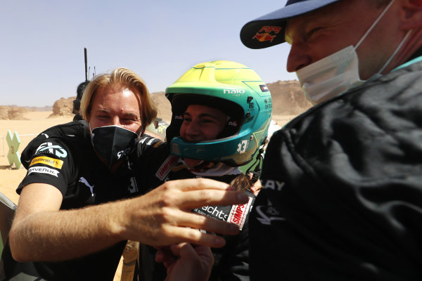 Nico Rosberg, founder and CEO, Rosberg X Racing, Molly Taylor (AUS), Rosberg X Racing, and Johan Kristoffersson (SWE), Rosberg X Racing, celebrate in Parc Ferme