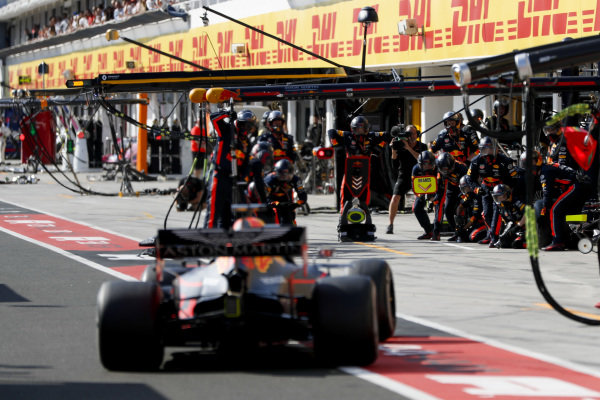 Max Verstappen, Red Bull Racing RB15, comes in for a pit stop