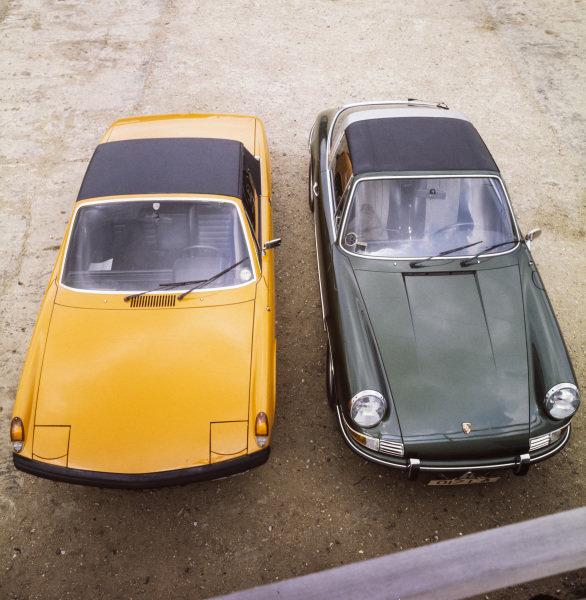 Porsche 914 (left) and 911E (right)