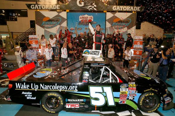 7-8 November, 2013, Fort Worth, Texas, USA Winner Erik Jones celebrates in Victory Lane © 2013, Michael L. Levitt LAT Photo USA