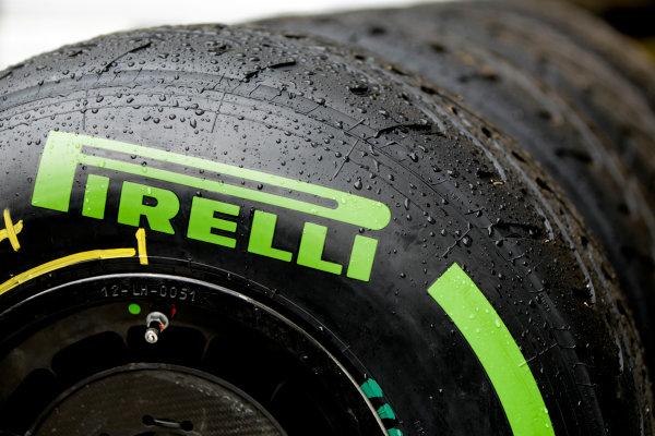 Interlagos, Sao Paulo, Brazil. Friday 22nd November 2013.  Pirelli intermediate tyres. World Copyright: Andy Hone/LAT Photographic. ref: Digital Image _ONY8597