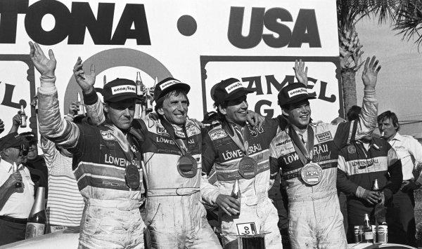 Daytona 24 Hours, Florida, USA. 31st January - 1st February 1987.Chip Robinson/Derek Bell/Al Unser, Jr./Al Holbert (Porsche 962), 1st position, podium, portrait. World Copyright: LAT Photographic. Ref:  B/WPRINT.