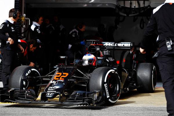 Circuit de Catalunya, Barcelona, Spain Monday 22 February 2016. Jenson Button, McLaren MP4-31 Honda, leaves the garage. World Copyright: Steven Tee/LAT Photographic ref: Digital Image _H7I0258