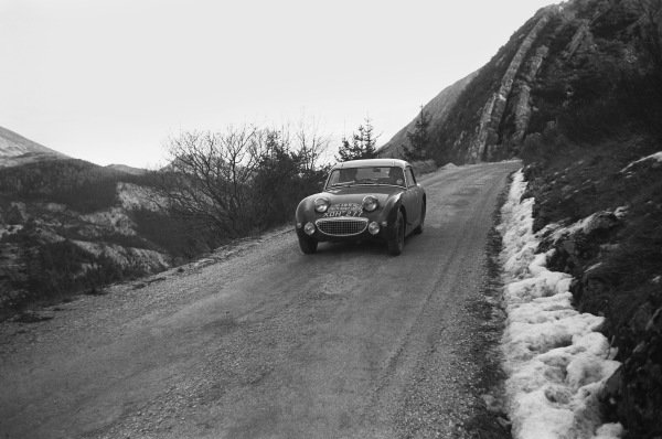 1959 Monte Carlo Rally. Monte Carlo Monaco. 16th - 25th January 1959. Tommy Wisdom / Douglas Johns (Austin-Healey Sprite), 5th in Class, 63rd overall. World Copyright: LAT Photographic.  Ref:  8148I - 8.
