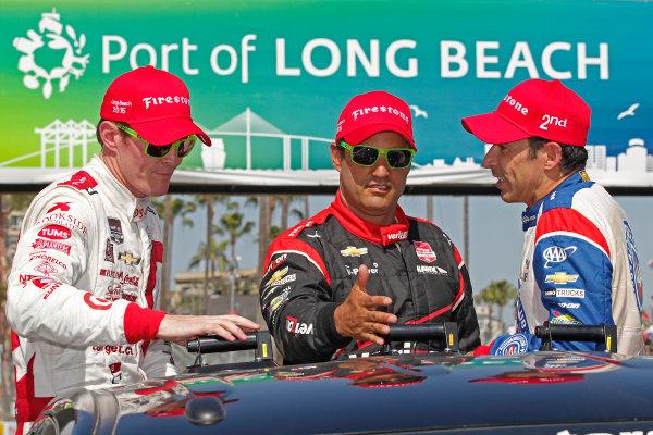 17-19 April, 2015, Long Beach, California USA Scott Dixon, Juan Pablo Montoya and Helio Castroneves ?2015, Ernie Masche LAT Photo USA