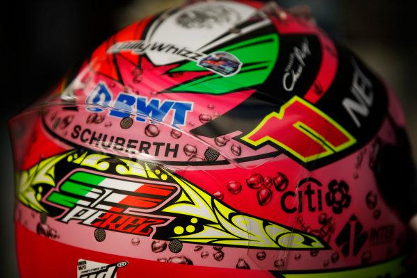 Sochi Autodrom, Sochi, Russia. Saturday 29 April 2017. Sergio Perez, Force India, crash helmet detail. World Copyright: Andy Hone/LAT Images ref: Digital Image _ONZ1260