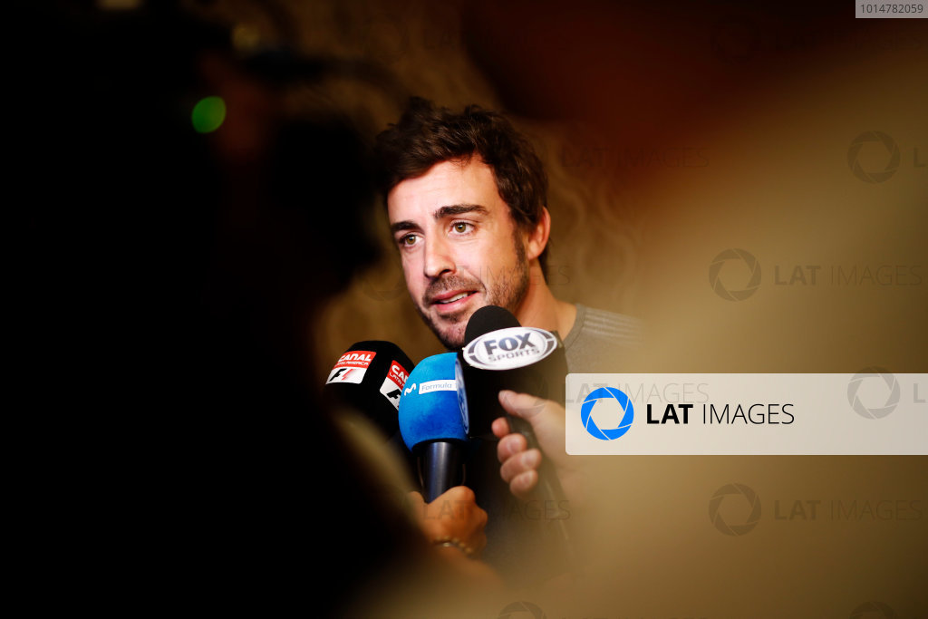 Bahrain International Circuit, Sakhir, Bahrain.  Wednesday 12 April 2017. Fernando Alonso talks to the media after announcing his deal to race in the 2017 Indianapolis 500 in an Andretti Autosport run McLaren Honda car. World Copyright: Glenn Dunbar/LAT Images ref: Digital Image _31I7018