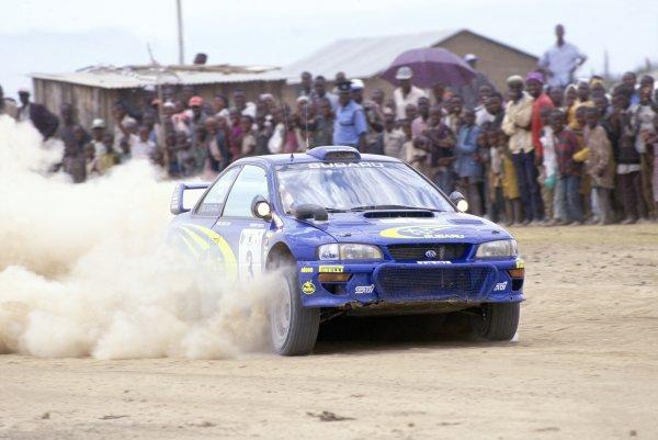 2000 World Rally Championship.Safari Rally, Kenya. 25-27 February 2000.Richard Burns/Robert Reid (Subaru Impreza WRC), 1st position.World Copyright: LAT PhotographicRef: 35mm transparency 2000RALLY03