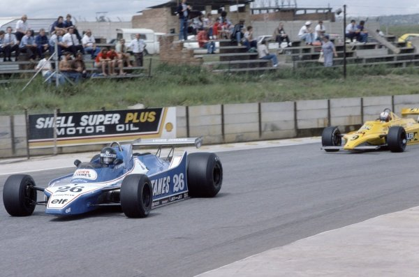 1980 South African Grand Prix.Kyalami, South Africa. 28 February-1 March 1980.Jacques Laffite (Ligier JS11/15-Ford Cosworth) leads Marc Surer (ATS D4-Ford Cosworth) in practice. Surer was injured during qualifying.World Copyright: LAT PhotographicRef: 35mm transparency 80SA12