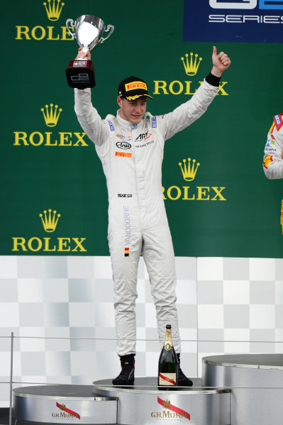 Second placed Stoffel Vandoorne (BEL) ART Grand Prix celebrates on the podium with the trophy at GP2 Series, Rd4, Spielberg, Austria, 19-21 June 2015.
