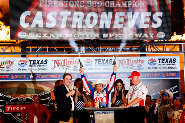 7-8 June, 2013, Fort Worth, Texas USA Helio Castroneves shoots the pistols in victory lane ©2013, Lesley Ann Miller LAT Photo USA