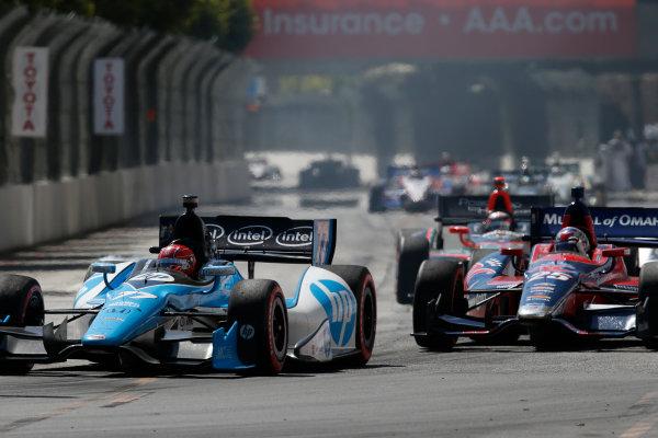 19-21 April, 2013, Long Beach, California, USA Simon Pagenaud races with Marco Andretti © 2013, Michael L. Levitt LAT Photo USA.