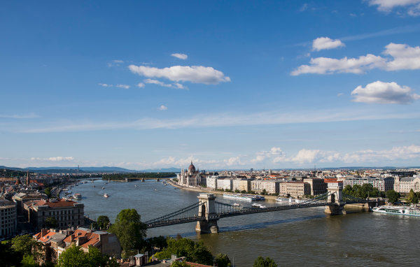 Hungaroring, Budapest, Hungary. Monday 5 June 2017. A view of the city and Szechenyi Chain Bridge. World Copyright: Zak Mauger/LAT Images ref: Digital Image _56I0542