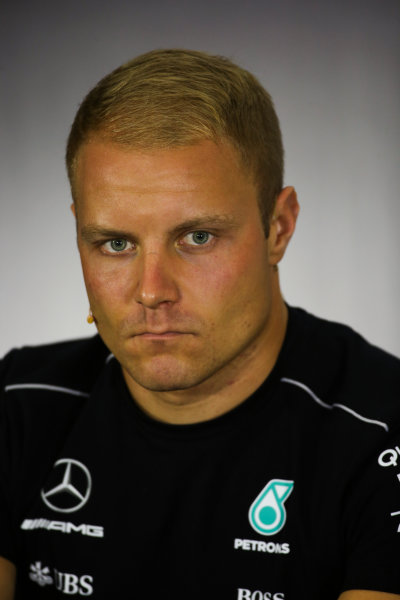 Silverstone, Northamptonshire, UK.  Thursday 13 July 2017. Valtteri Bottas, Mercedes AMG, in the Thursday press conference. World Copyright: Charles Coates/LAT Images  ref: Digital Image DJ5R0685