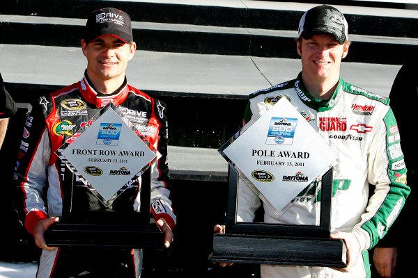 12-20 February, 2011, Daytona Beach, Florida USADale Earnhardt Jr. and Jeff Gordon©2011, LAT SouthLAT Photo USA