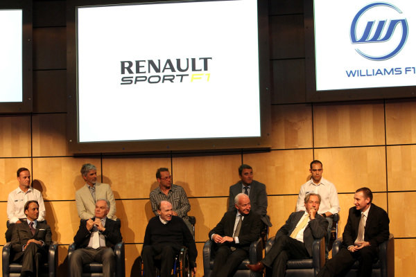 The Renault Engine deal for 2013 and 2014 is announced.Back row L-R: Rubens Barrichello (BRA), Damon Hill (GBR), Jacques Villeneuve (CDN), Nigel Mansell (GBR), Pastor Maldonado (VEN).Front row L-R: Adam Parr (GBR), Williams CEO, Patrick Head (GBR) Williams Director of Engineering, Sir Frank Williams (GBR) Williams Team Owner, Bernard Rey (FRA) Renault F1 Team President, Jean-Francois Caubet (FRA) Renault Head of Communications and Rob White (GBR) Renault Engine Director.Williams Renault Announcement, Williams F1 Conference Centre, Grove, Oxfordshire, England, 4 July 2011.