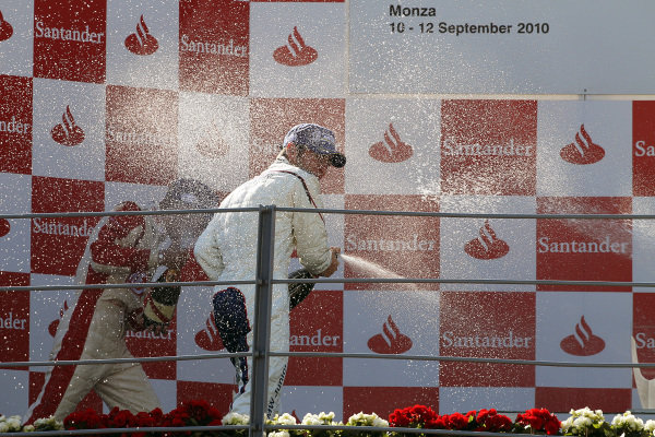Champagne spraying on the podium. Formula BMW Europe, Rds 12 & 13, Monza, Italy, 10-12 September 2010.