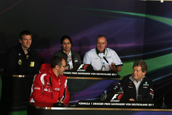 The FIA Press Conference (From back row (L to R)): James Allison (GBR) Lotus Renault GP Technical Director; Monisha Kaltenborn (AUT) Sauber Managing Director; Mark Gallagher (GBR) Cosworth F1 General Manager; Stefano Domenicali (ITA) Ferrari General Director; Norbert Haug (GER) Mercedes Sporting Director. Formula One World Championship, Rd 10, German Grand Prix, Practice Day, Nurburgring, Germany, Friday 22 July 2011.