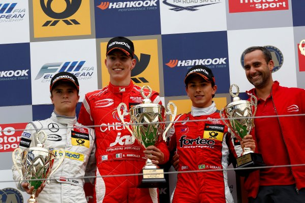 Round 7 - Nurburgring, Germany 16th - 18th August 2013  Podium, 2nd Lucas Auer (AUT) PREMA POWERTEAM Dallara F312 Mercedes, 1st Raffaele Marciello (ITA) PREMA POWERTEAM Dallara F312 Mercedes, 3rd Luis Felipe Derani (BRA) FORTEC MOTORSPORTS Dallara F312 Mercedes World Copyright: XPB Images / LAT Photographic  ref: Digital Image 2780178_HiRes