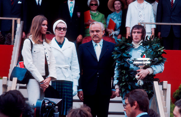 1973 Monaco Grand Prix.Monte Carlo, Monaco.31/5-3/6 1973.Jackie Stewart (Tyrrell Ford) 1st position on the podium. Along side him, HSH Prince Rainier, Princess Grace and his wife Helen Stewart.Ref-73 MON 90.World Copyright - LAT Photographic
