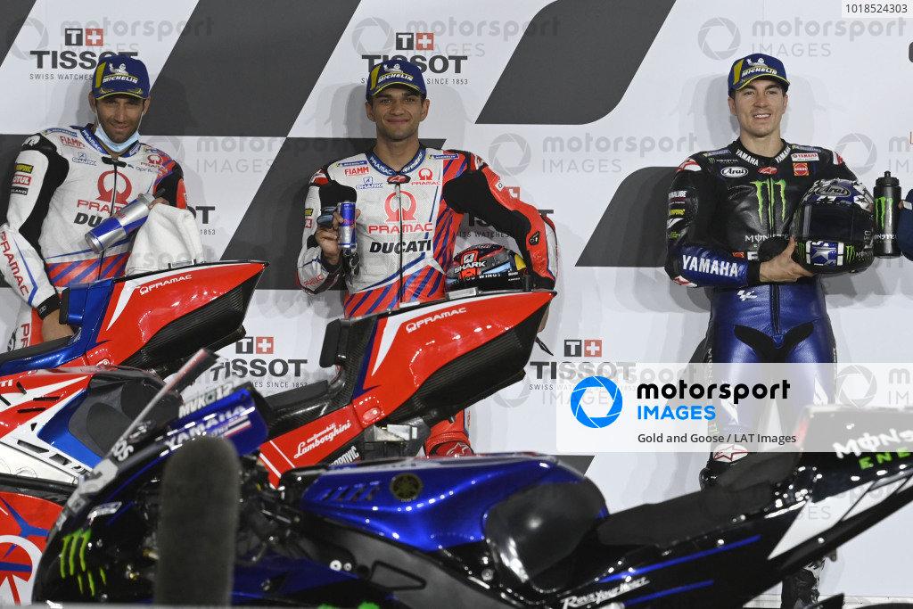 Jorge Martin, Pramac Racing, Johann Zarco, Pramac Racing, Maverick Vinales, Yamaha Factory Racing parc ferme.