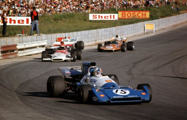 1972 South African Grand Prix.Kyalami, South Africa.2-4 March 1972.Chris Amon (Matra-Simca MS120C) leads Helmut Marko (BRM P153) and John Love (Surtees TS9 Ford).Ref-69 SA 07.World Copyright - LAT Photographic