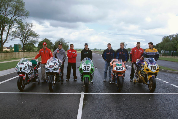 2002 Dadford Road Opening.Silverstone, England. 23rd May 2002.World Superbike riders help open the new road leading to Silverstone (L-R) Colin Edwards (USA), Peter Goddard (AUS), Troy Bayliss (AUS), Eric Bostrom (USA), James Toseland (GBR), Neil Hodgson (GBR), Ruben Xaus (ESP) and Gregorio Lavilla (ESP).World Copyright: Peter Spinney/LATref: 35mm Image
