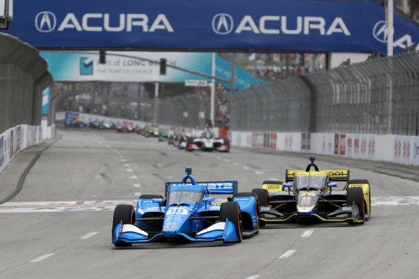 #10: Alex Palou, Chip Ganassi Racing Honda, #26: Colton Herta, Andretti Autosport w/ Curb-Agajanian Honda