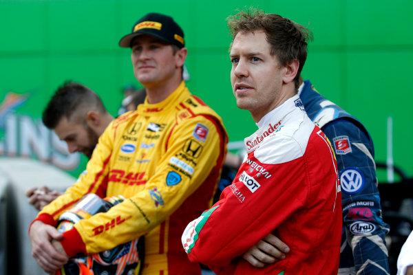 2017 Race of Champions Miami, Florida, USA Friday 20 January 2017  Ryan Hunter-Reay and Sebastian Vettel World Copyright: Alexander Trienitz/LAT Photographic ref: Digital Image 2017-24h-RoC-MIA-AT2-0010