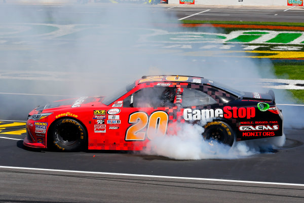 2017 NASCAR Xfinity Series My Bariatric Solutions 300 Texas Motor Speedway, Fort Worth, TX USA Saturday 8 April 2017 Erik Jones, Game Stop/ GAEMS Toyota Camry celebrates his win with a burnout World Copyright: Russell LaBounty/LAT Images ref: Digital Image 17TEX1rl_2617