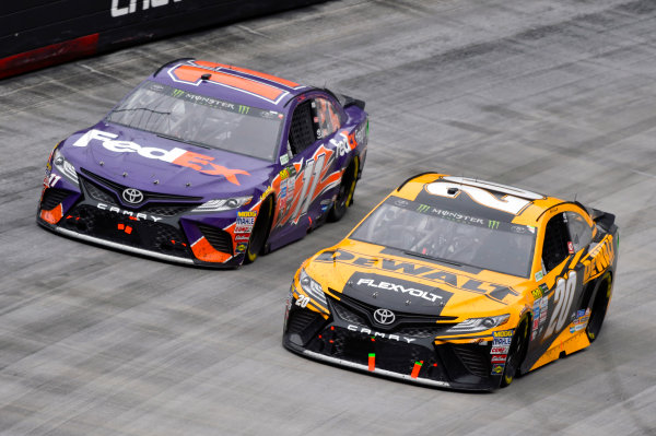 Monster Energy NASCAR Cup Series Food City 500 Bristol Motor Speedway, Bristol, TN USA Monday 24 April 2017 Denny Hamlin, FedEx Freight Toyota Camry and Matt Kenseth, DeWalt FlexVolt Toyota Camry World Copyright: Nigel Kinrade LAT Images ref: Digital Image 17BRI1nk08919